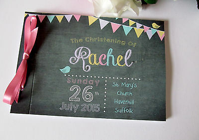 Personalised Christening Naming Day Guest Book Memory Book Bunting Chalkboard