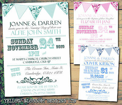 10 Personalised Christening Naming Day Baptism Invitations Floral Bunting Poster