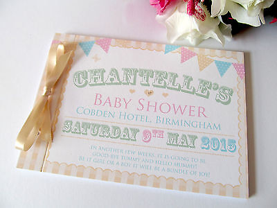 Personalised Guest Book Baby Shower Memories Photos Shabby Chic Bunting Vintage