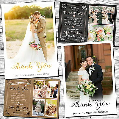 10 Wedding Thank You Cards With Photo Vintage Chic And Envelopes Personalised