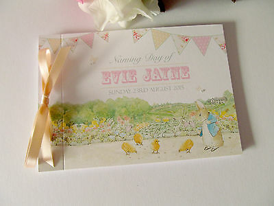 Personalised Guest Book Naming Christening Birthday Peter Rabbit Day Jemima