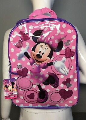 Back To School Kids Disney Minnie Mouse Sparkly Pink Bookbag Backpack, New