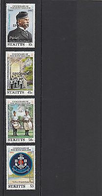 St Kitts 1983  Boys Brigade Centenary mounted mint stamps overprinted specimen