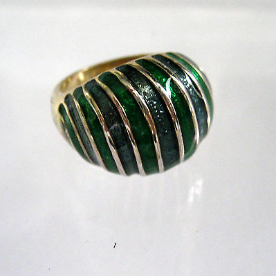 18 K Filled And Green Enamel Ring Gold Filled  6 3/4