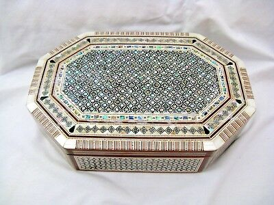 "Egyptian Octagonal Mother of Pearl Wooden Inlaid Jewelry Box 11 X 7.5"" #552"