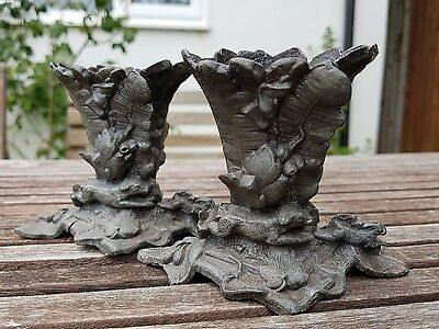 Two Cast Metal Spelter Spill Vases Match Holders Dog Hunting Rabbit or Hare