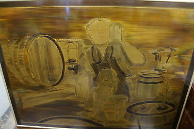 Hand Made Brass Etching Picture of Beer Brewer