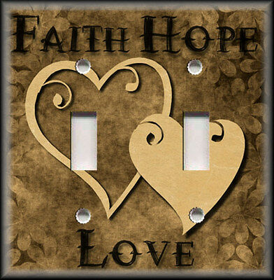 Metal Light Switch Plate Cover - Faith Hope Love Home Decor Hearts Brown Decor