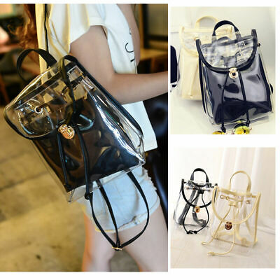 Clear Girl Transparent Backpack 2 in 1 Satchel Women Jelly Beach Tote School Bag