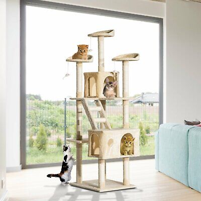 "PawHut 71"" Scratching Cat Tree Kitty Condo Multi Level Play Post Activity Center"