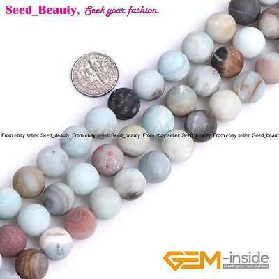 Natural Round Mixed Color Amazonite Large Hole Beads for Jewelry Making 15''