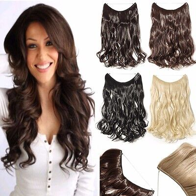 Headband Secret Wire In Hair Extensions Invisible Curly Synthetic Brown Black AU