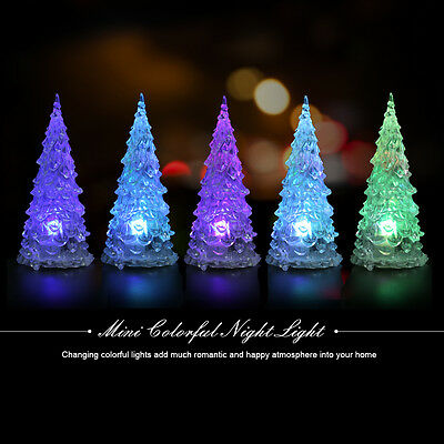 Crystal Mini LED Color Changing Christmas Tree Decoration Night Light Lamp EB