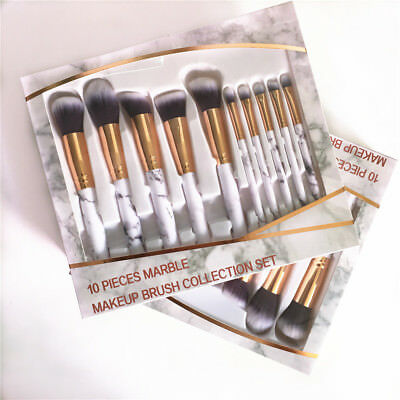 10pcs Marble Makeup Brushes Set Foundation Powder Eyeshadow Blush Face Lip Brush
