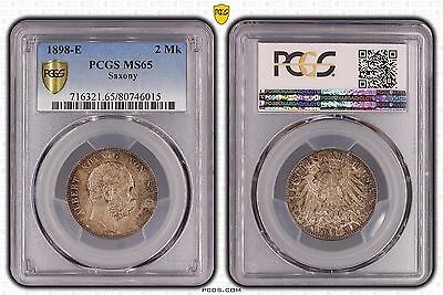 Saxony :1898-E 2 Mark - Choice UNC = PCGS MS 65