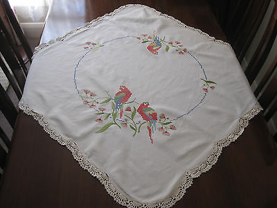 Vintage Hand Embroidered Rosellas And Flowering Gum Tablecloth