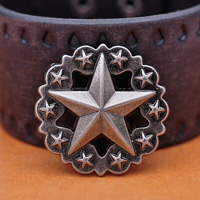 3.6X3.6CM 10pcs Antique Silver Western Texas Star Conchos Tack For Leathercraft