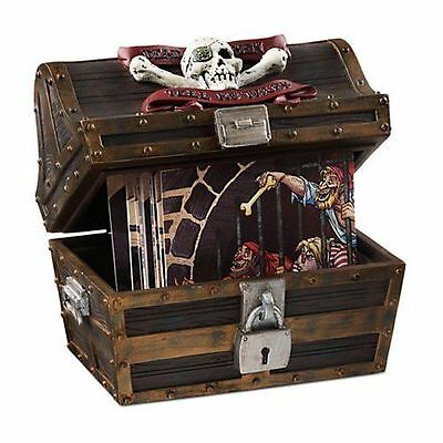 New! Disney Pirates Of The Caribbean Treasure Chest & 16 Coaster Set Disneyland