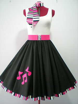 "ROCK N ROLL/ROCKABILLY ""Music Notes"" SKIRT-SCARF-BELT M-L Black/Pink"