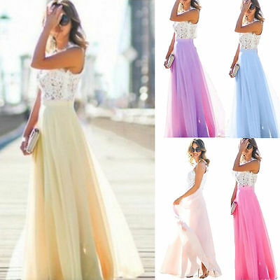 UK Womens Ladies Lace Maxi Evening Party Cocktail Prom Ball Gown Long Maxi Dress