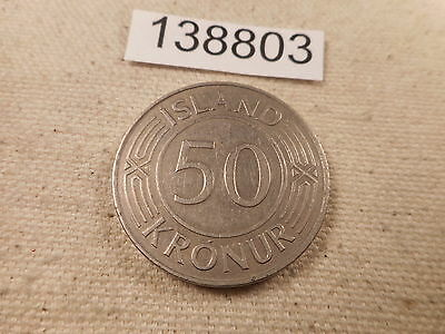 1971 Iceland 50 Kronur - Very Nice Collector Album Grade Coin - # 138803