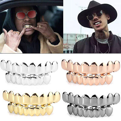 Unisexe Doré Hip-Hop Dents Or Bretelles 8 Top Bottom Teeth Grillz Grills Fashion