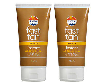 2 x Le Tan Fast Tan Instant Self Tanning Lotion Bronze 150mL