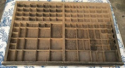Vintage French Printers Tray Rustic Letterpress Type Case Drawer Display (1005)