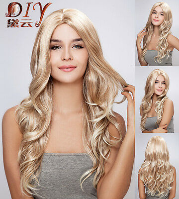 Charming Women Blonde Long Wavy Halloween Cosplay Costume Party Hair Full Wigs