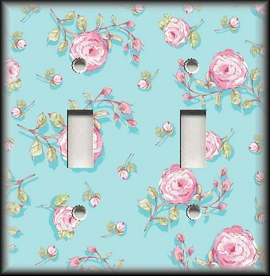 Light Switch Plate Cover - Shabby Chic Pink Roses Blue - Shabby Chic Decor