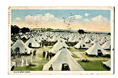 """POST CARD: """"A.  U. S. ARMY CAMP.""""  (1918 Vintage) Message to sweetheart"""