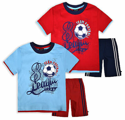 Boys Football Short Sleeved T-Shirt And Shorts New Kids Red Blue Set 2 - 6 Years