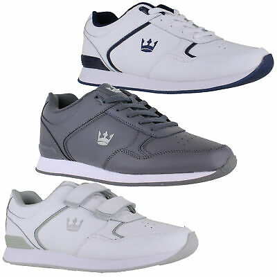 Mens/Womens Crown King Leather Lace Up/Velcro Bowling Trainers Sizes 4 to 12