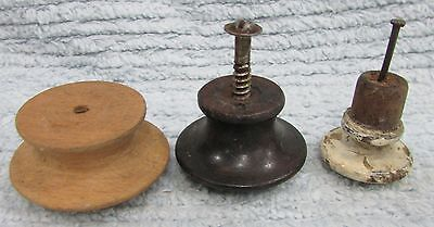 Three different primitive old solid wood vintage drawer pull knobs FREE S/H