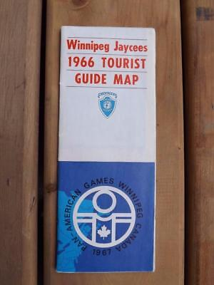 Winnipeg Jaycees 1966 Tourist Guide Map Pan-American Games Vintage Advertising