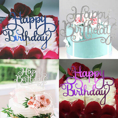 4Colors Cake Topper Happy Birthday Party Supplies Decor Fashion Practical
