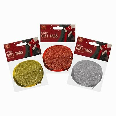 Christmas Glittered Gift Tags Round Xmas Gifts Xmas Decorations Tags x 20