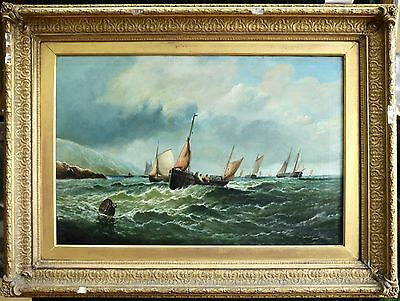19th CENTURY LARGE ENGLISH MARINE OIL - INDISTINCTLY SIGNED - ORIGINAL FRAME