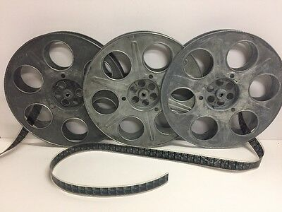 "Lot of 3 Antique Goldberg 35mm 14.5"" 2000ft. Metal Film Reels"