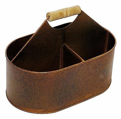 """Rusty Metal Divided Tote Container Bucket Home Farm Country Decor 11"""" NEW KK7360"""