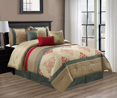 Luxury Claret 7-piece Gray Taupe Red Pleated Medallion Embroidered Comforter Set