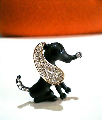 Black Basset Hound Dog Brooch Pin Gold Tone Long Ear with Clear Crystal