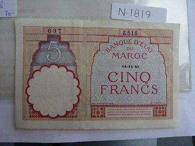 Vintage Banknote Morocco 1941 5 Francs Cat Value 70.00  N1819