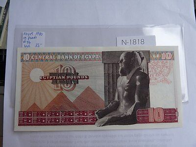 Vintage Banknote Egypt 10 Pounds  1970 Cat Value 35.00   N1818