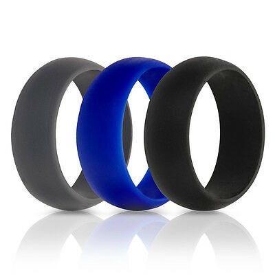 Men Women 3PCS/SET  Wedding Ring Rubber Silicone Band Active Sport Gym Fashion