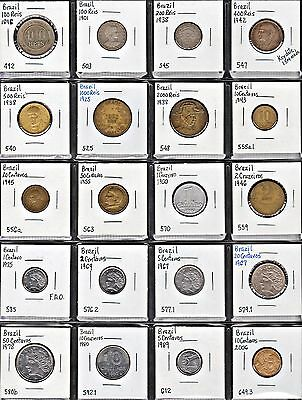 """page"" Of Twenty 20 Different Brazil Coins!"