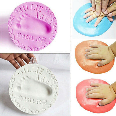 Unisex Soft Air Drying Clay Baby Handprint Footprint Imprint Kit Casting Memory