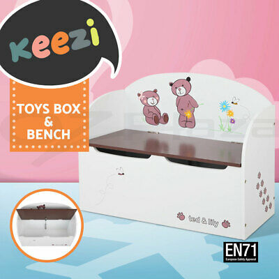 Keezi Kids Toy Box Bench Seat Storage Safe Lid Wooden Cabinet Bedroom Furniture