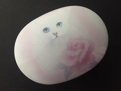 Otagiri white cat music box NEW VTG Japan Edelweiss rose trinket cat lover gift