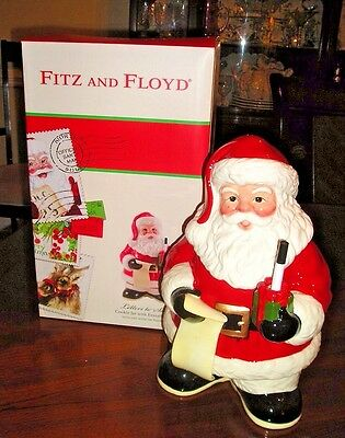 Fitz and Floyd LETTERS TO SANTA Cookie Jar w/ Dry Erase Marker New!